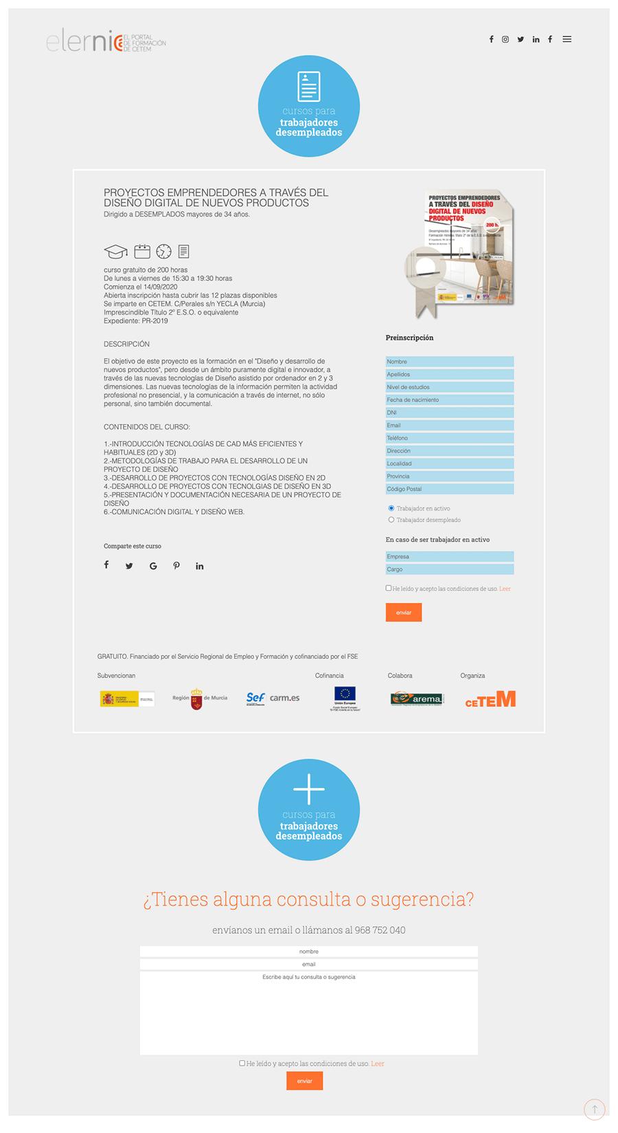Página curso para desempleados web elernia