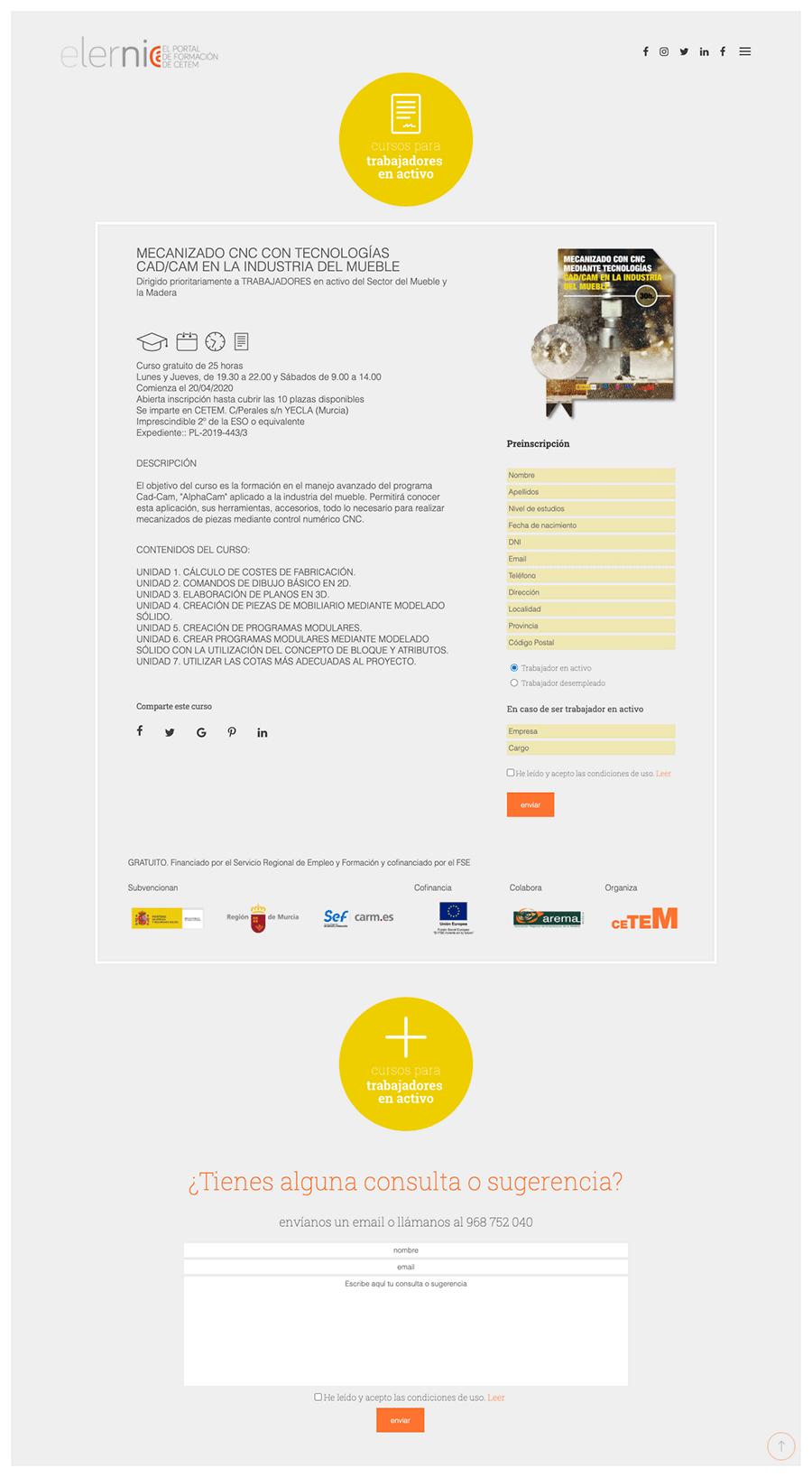 Página curso para trabajadores web elernia