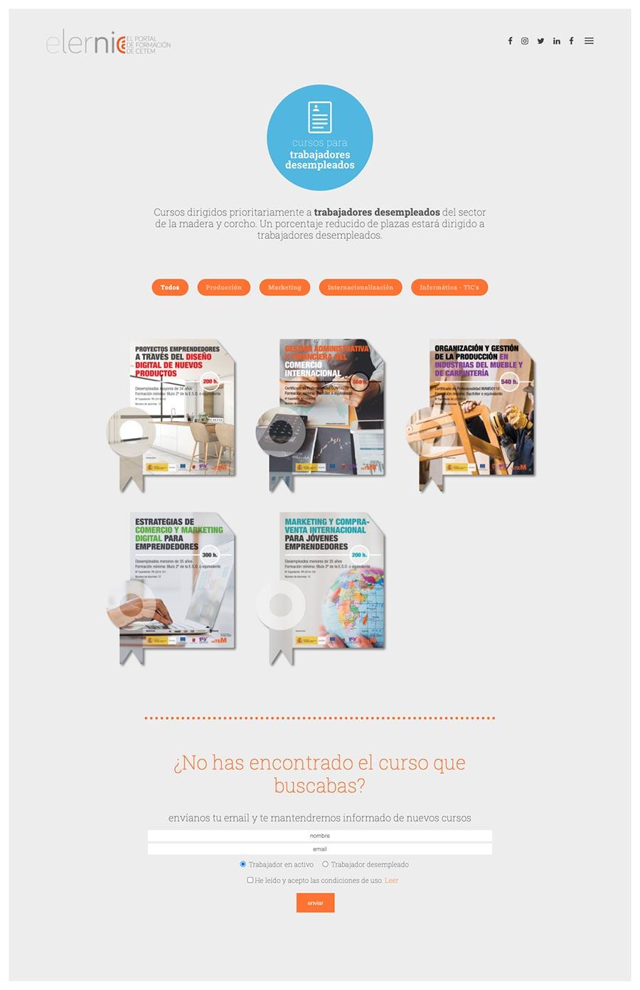 Página cursos para desempleados web elernia